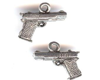 HAND GUN Charm. Pewter. 3D Handgun. Semi Automatic. Made in the USA.