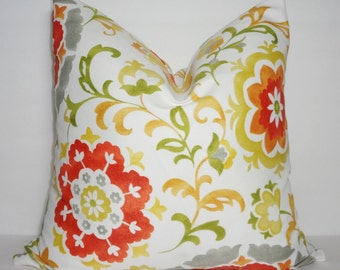 OUTDOOR Orange Yellow Grey Floral Pillow Cover Deck Patio Pillow Cover Size 18x18