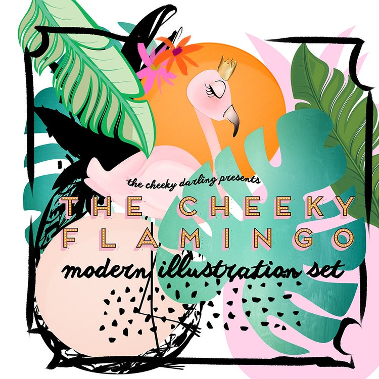 Clipart Flamingo Tropical Palm Leaf Pineapple by ...