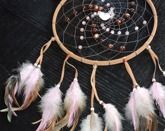 """9"""" Brown and pink dream catcher with a pearl heart"""