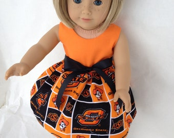 18 inch Doll Dress made with Oklahoma State fabric,  made to fit 18 inch dolls such as American Girl and similar 18 inch dolls