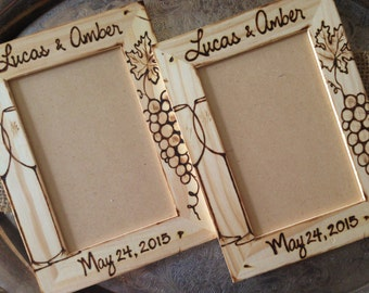 Wine Wedding Engagement Custom Wood Frame Anniversary to Napa Valley Set of 2 His and Hers Original Artwork by Hand