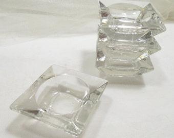 Salt Cellers, Salt Dips, Open Salts, Vintage Glass Salts, Set of 4 Vintage Salt Dips, Lead Glass Square Open Salt, RePurposing Salt Cellers