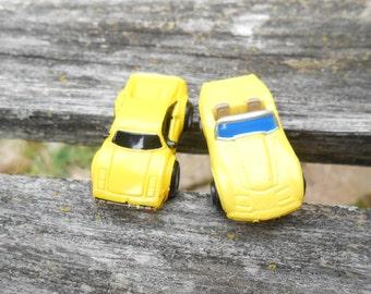 Yellow Corvette & Ferrari Cufflinks. Wedding, Men's, Groomsmen Gift, Dad.