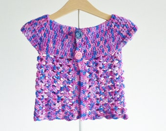 Beautiful sleeveless lace cardigan for toddler little girl age 12 months hand dyed British wool - bright colors blue purple pink