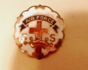 Enamel WWII Air Force S S Cross & Crown Pin