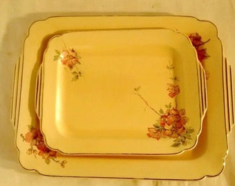 Homer Laughlin Platters , Creamy Yellow and Pink Blossoms , Cottage chic
