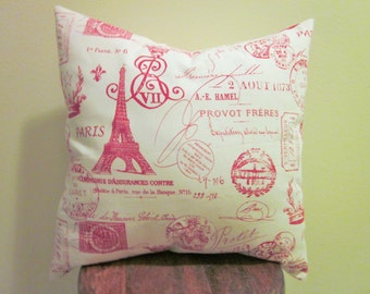 Red French Stamp Pillow Cover, Various Sizes, Handmade, Shabby Chic, French Cottage