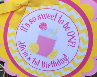 Pink Lemonade Birthday Party Door Sign in Pink and Yellow