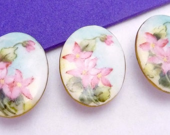 Antique Victorian Set of 3 Hand Tole Painted China Porcelain Studs Buttons 21036