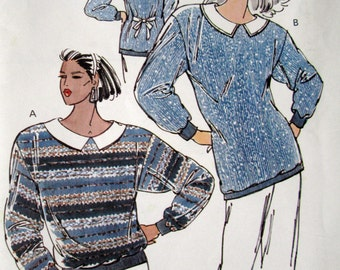 Sweater Knit Top sewing pattern tunic top long sleeve sweater loose fit baggy oversized vintage 80s Kwik Sew 1801 women small medium large