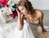 Modern Simple sweetheart Chiffon Wedding Dress, Alternative Destination Wedding Dress, A-line wedding dress circle skirt Low Back