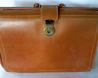 Vintage briefcase, brown leather, portfolio, attache, cowhide, from Diz Has Neat Stuff