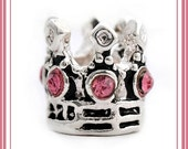 Shiny Silver Plated  - Adorable - PRINCESS CRoWN for Special Little GiRL - PINK Crystals - Charm Bead - fits European Bracelets - MC-2359-A