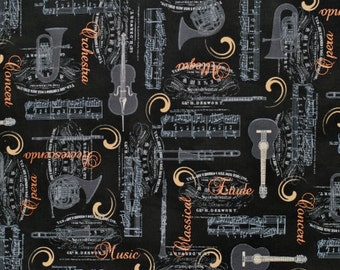 """Allegro Copper Script and Instruments by Stof, 45"""" wide, 1 yard"""