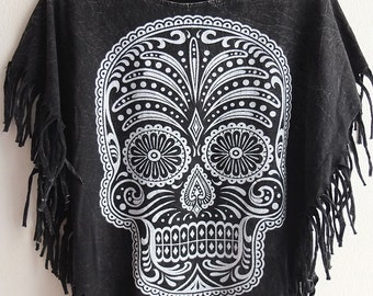 trippy indian skull mask stone washed hippie rock tassels t-shirt tank top small poncho