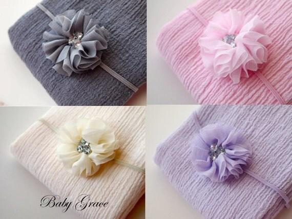 Newborn headband and wrap newborn photo prop newborn girl - Como hacer adornos para el pelo ...