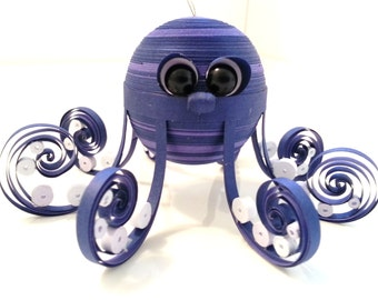 Octopus Christmas Ornament, Octopus Decoration for Children Paper Quilled Art Ocean Ornament in Blue