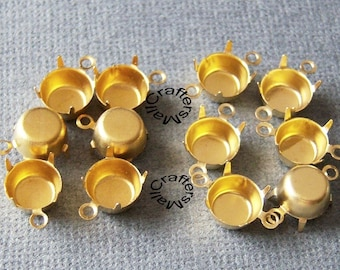 8mm Raw brass prong settings, one or two loops, closed backs, 20 pcs/Brass connector settings/Brass charms