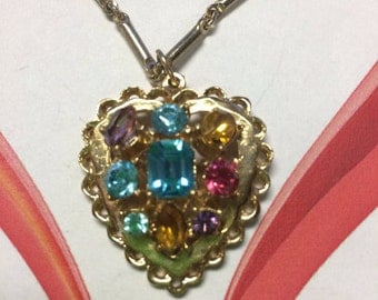 Heart Necklace with Colorful Rhinestones in a Gold Tone Setting - VINTAGE