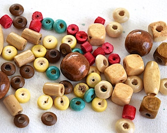 Wood Mix Shape And Color Beads 5 - 12 mm Jewelry Supplies - 60 Plus Beads (F045)