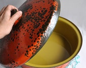 SALE 20% OFF! Hanova of Pasadena - Brutalist Lava Orange Enamel Pot with Avocado Interior
