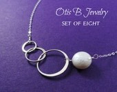 Bridesmaid gift set of EIGHT silver circle necklaces, eternity karma necklaces,entwined rings, sisters, friendship, bridesmaid necklaces
