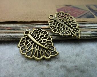 30pcs 19x24mm The Leaves Antique Bronze Retro Pendant Charm For Jewelry Bracelet Necklace Charms Pendants C7705