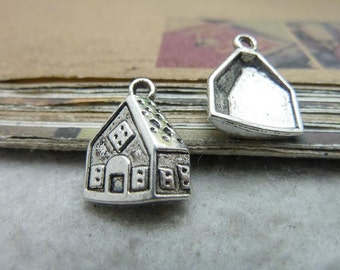 30pcs 13x17mm The House Silver White Retro Pendant Charm For necklace Jewelry /Pendants C7590