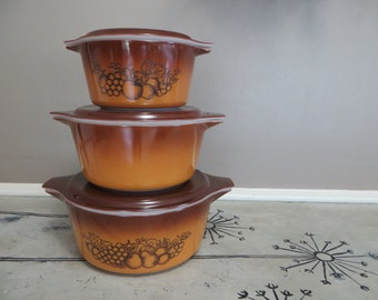 Pyrex Casserole Dishes Harvest Brown Old Orchard Pyrex Brown Kitchen Retro Pyrex Set of 3 Fruit Pyrex