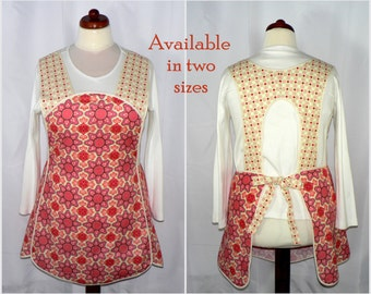 Retro 50s SMOCK APRON - Vintage Paisley in Blush, no neck ties, comfortable all day apron, made-to-order XS to Plus Size