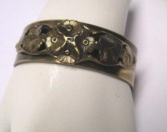 Antique Brass Floral Art Nouveau Cuff Bracelet, Brass Cuff Bracelet