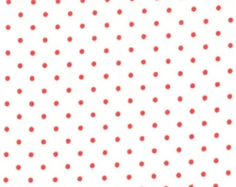 Essential dots cotton white background with red dots from Moda fabric 8654 51