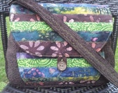 CUSTOM RESERVED Listing for Kate Part 2/2Hippie Vintage Messenger Style Shoulder Bag Crossbody Brown Green Batik Patchwork Boho Multi Print
