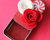 Christmas Gift Card Holder, Keepsake Mini Altered Tin/ Peppermint Fluff
