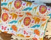 Minky Baby Blanket - Origami Pride - Zoo Animals Elephant, Lion, Giraffes - Baby Girl