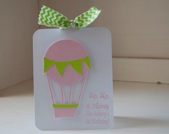 Hot Air Balloon Invitations First Birthday Party Girl Baby Shower Pink and Lime Green Chevron