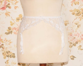 Vintage White Embroidered Mesh Garter Belt, Suspender Belt. Circumference: 29 - 36""