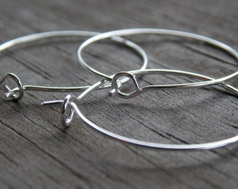 20 Silver Wine Glass Charm Rings or Silver Hoop Earring Findings 25mm
