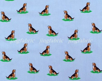 C157A - 1 meter  Cotton Fabric - Lovely Dog on blue grey (145cm width)