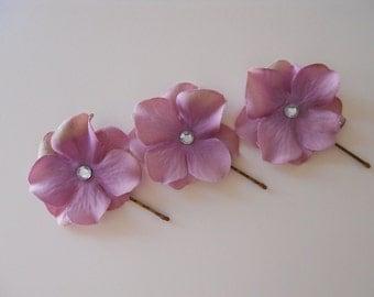 Vintage Purple, Lilac, Pink Flower Hair Pin, Set of 3