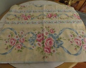A single KING size cottage, shabby chic, Yellow wallpaper style with Pale pink roses floral pillowcase