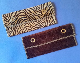 Upcycled Chenille Upholstery Evening Bag Clutch - brown