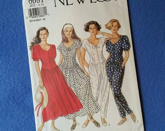 Uncut Vintage New Look Sewing Pattern - 6681 - Misses' Dress and Jumper - sizes 6 to 16