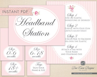 INSTANT PDF, Headband Station Signage, Shabby Chic, Sign, Directions, Tent Cards, Printable, Download Now