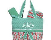 Personalized Geometric Pattern Quilted Diaper Bag Set - Coral & Green 3 piece Diaperbag Set FREE Monogram