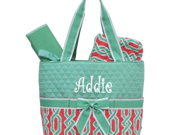 SALE Personalized Geometric Pattern Quilted Diaper Bag Set - Coral & Green 3 piece Diaperbag Set FREE Monogram