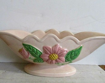 Hull Art Pottery, Pink Magnolia Console, Hull Art, Made in the USA, Mid Century Home Decor, Hull Collectible
