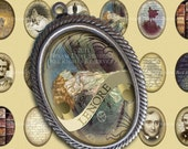 Edgar Allan Poe Jewelry Images - Victorian Goth 18x25mm Cameo-Size Oval Digital Images - Digital Collage Sheet, Instant Download, Printables