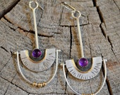 "Sterling silver amethyst earrings gold filled accents.  ""purple rain"""